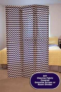 Learn to make a diy room divider or dressing screen using simple frames and chevron patterned fabric from Riley Blake Designs.