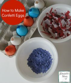 How to Make Confetti Eggs- These patriotic themed eggs would be great for Memorial Day, the 4th of July, or Veterans Day!