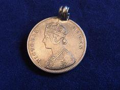 Queen Victoria Silver One Rupee Coin Pendant 1862 Queen Victoria Empress of India Coin Pendant Royal Coin Queen Victoria Coin Jewllery 1862 Vintage Props, The Bale, English Royalty, Coin Pendant, Queen Victoria, Coins, India, Silver, Goa India