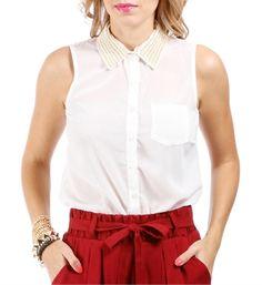 Ivory Embellished Collar Sleeveless Top