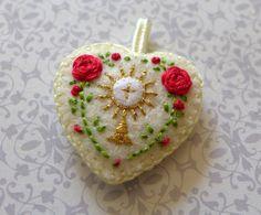 Hand Embroidered Medal / Badge: Eucharist by StellaMarigoldArt