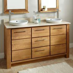 Venica Teak Double Vanity for Semi-Recessed Sinks - Bathroom Vanities - Bathroom Narrow Bathroom, Upstairs Bathrooms, Bathroom Sink Vanity, Vanity Cabinet, Sinks, Semi Recessed Sink, Shelf Bins, Double Sink Vanity, Teak Sideboard