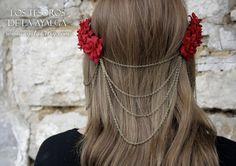 Headpiece flower and chains headpiece