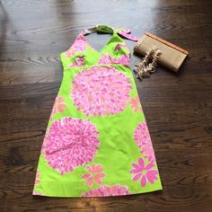Lily Pulitzer Halter Dress Super cute Lily dress! Only worn once but there are a couple of stains...two small ones on the body and the white side of the halter straps have some make-up stains. Lilly Pulitzer Dresses Midi