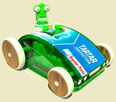 I designed this car for kids to play with in a dentist waiting room. Note it has a tooth brush driving it. As do all the cars it contains the wind up musical movement that also propels the vehicle.