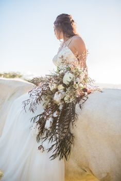 Cascading Wedding Bouquet at Sunset Ranch, Hawaii