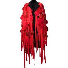 Comme Des Garçons Comme Des Garçons ribbons and flowers coat ($4,090) ❤ liked on Polyvore featuring outerwear, coats, black, black coat, black wool coat, woolen coat and wool coat