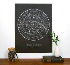 Sagan Star Chart  Black  Constellation Print  Star Map