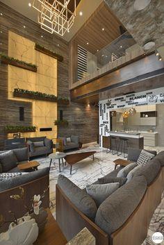 Duplex At Oberoi Exquisite Hall Interior Design, Hall Design, Home Room Design, Interior Design Living Room, Living Room Designs, Bungalow House Design, Modern House Design, Modern House Facades, Lobby Design