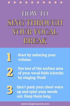 Sing through your vocal break with these three tips. More free singing training: Vocal Lessons, Singing Lessons, Singing Tips, Music Lessons, Guitar Lessons, Guitar Tips, Guitar Songs, Guitar Chords, Singing Quotes