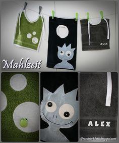 Lätzchen aus Gästehandtüchern und Waschlappen / Towels and facecloths as bibs