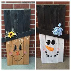 reversable scarecrow/snowmanpallet wood