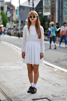 New japanese street fashion been published on http://www.tokyofaces.com/2013/08/28/topshop-white-dress-celine-loafers/Topshop White Dress &a...