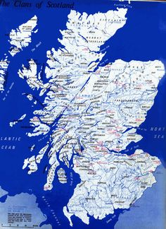 Scottish clan map from Scotland's history. The Ferguson Clan ruled over the huge chunk of land at the southern most part of Scotland (Dumfries and Galloway). Some Clan families also ruled areas in Argyll and Perthshire. Scotland History, Family Roots, Scotland Travel, Scotland Map, British Isles, Ancestry, Edinburgh, Tartan, Just In Case