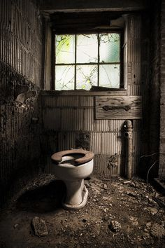 Abandoned Places, Old Toilet, Bathroom Art, Urban Exploration, Color Photograph of an old toilet in Abandoned Buildings, Abandoned Places, Industrial Bathroom Vanity, Bathroom Art, Bathroom Humour, Small Bathroom, Bathroom Ideas, Building Signs, Barndominium Floor Plans