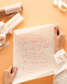 calligraphed scroll invite. Molly Jacques.