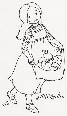 Redwork to embroider - Girl is carrying Apples in Apron Summer Designe
