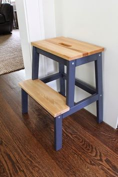 Ikea Bekvam stool. She painted the legs navy blue and used a shellac on the steps.