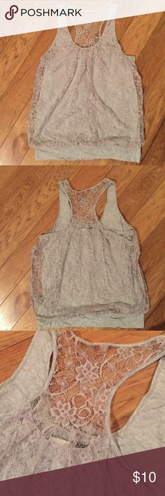 Express razorback tank Has beautiful lace overlap.  Color is a light grey.  Has a cinched waist.  Excellent condition. Comes from pet free, smoke free home. Express Tops Tank Tops