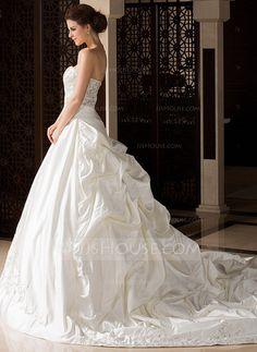 Forme Marquise Bustier en coeur Traîne royale Satiné Robe de mariée avec Broderie Plissé Emperler (002033766) - JJsHouse