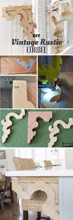 20 Rustic DIY Projects and Creative Ideas to Bring Warmth to Your Home DIY corbels can be used to add pizzazz to a kitchen stand, positioned beneath cabinets or just about everywhere there's a walkway. Diy Vintage, Vintage Home Decor, Vintage Farmhouse, Home Decor Accessories, Decorative Accessories, Handmade Home Decor, Diy Home Decor, Diy Woodworking, Woodworking Magazine