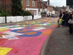 Road Art in Pewsey for Carnival and the Tour of Britain. Pewsey Community Area Partnership in cooperation with Faux Arts and Wiltshire Council.