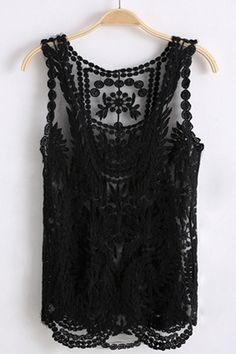 Sleeveless Round Neck Crocheted Lace Vest