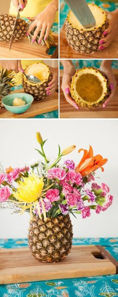 Pineapple Vase - amazing floral centerpiece for that summer party!DIY Pineapple Vase - amazing floral centerpiece for that summer party! Summer Table Decorations, Diy Party Decorations, Decoration Table, Beach Centerpieces, Fruit Decoration For Party, Centerpiece Ideas, Flamingo Party, Flamingo Birthday, Hawaiian Birthday