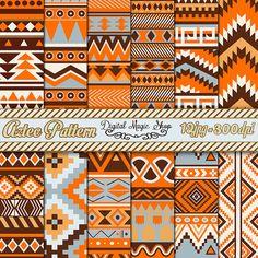 Digital Paper Pack 12 Orange Brown Gray Aztec Pattern Digital by DigitalMagicShop, $2.50