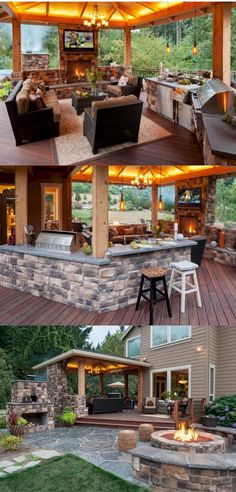 Cooking outdoors at Outdoor Kitchen brings a different sensation. We can use our patio / backyard space to build outdoor kitchen. Outdoor kitchen u. Modern Outdoor Kitchen, Backyard Kitchen, Backyard Bar, Backyard Fireplace, Deck With Fireplace, Backyard Lighting, Backyard Covered Patios, Outdoor Kitchen Plans, Propane Fireplace