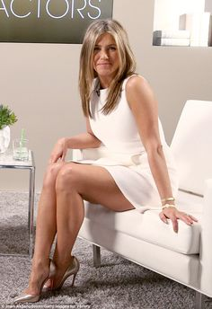Entering awards season race: Jennifer Aniston made sure to put her engagement ring and her toned legs on full display while taping day one of Variety's Actors on Actors in Los Angeles Saturday