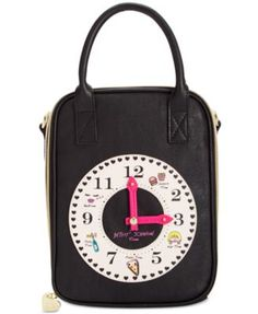 Betsey Johnson Clock Lunch Tote Handbags   Accessories - Macy s 485937a00a8d3