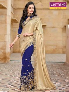 Beautiful royal blue beige bemeber georgette saree