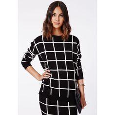 Missguided Ayisha Oversize Grid Brushed Knit Jumper Monochrome ($16) ❤ liked on Polyvore