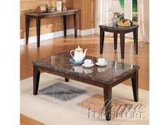Danville Marble Top Coffee/End Table Set By Acme 07142 Set