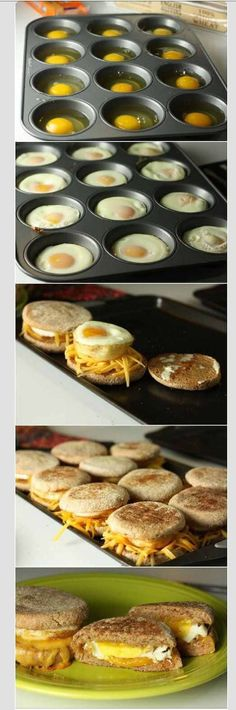 """Delicious Breakfast Sandwiches Recipe -Previous pinner wrote, """"These were pretty easy! Kinda took awhile with all the steps so they would be best for a brunch or larger breakfast group. We used a muffin top tin instead of a regular muffin tin and adjusted Breakfast Sandwich Recipes, Breakfast Desayunos, Breakfast Dishes, Breakfast Parties, Sandwich Ideas, Brunch Party, Eggs For Breakfast Sandwiches, English Breakfast Ideas, Office Breakfast Ideas"""