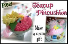 Download Free! Teacup Pincushion Tutorial Sewing Pattern | Free Pattern Club Downloadable Sewing Patterns at YouCanMakeThis.com