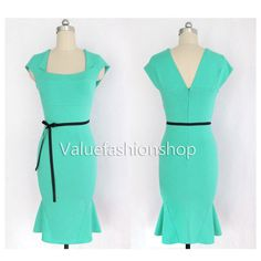 Womens Celeb Belted Square Neck Mermaid Party Evening Casual MIDI Pencil Dress | eBay
