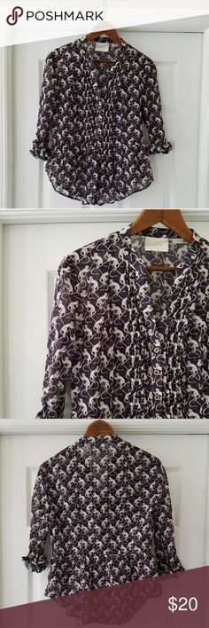 Maeve novelty print blouse from Anthro Cute blouse, monkey print fabric, wooden buttons, great details. EUC. Anthropologie Tops Blouses