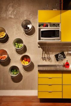metal buckets as storage shelves
