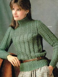 Vintage Women's Knitting Pattern - Cable Knit Pullover - Ladies - pdf - or sweater turtle neck Vogue Knitting, Knitting Yarn, Baby Knitting, Mohair Sweater, Cable Knit Sweaters, Sweater Knitting Patterns, Knitting Designs, Vintage Knitting, Crochet Fashion