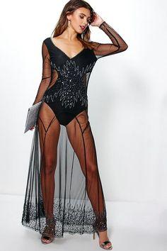 boohoo Petite Libby Cut Out Side Long Sleeve Maxi Dress Fishnet Dress, Boohoo Petite, Lovely Dresses, Clubwear, Fit Women, Feminine, Lady, Long Sleeve, Outfits