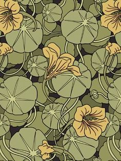 Art Nouveau wallpaper: Love how the art nouveau patterns and textiles were so heavily inspired by nature study drawings