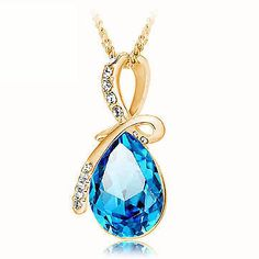 Rhinestone Crystal Water Drop Pendant Necklace For Women (10 colors available) #Unbranded