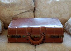Vintage 1940s Brown Leather Suitcase or Briefcase