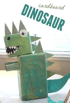 Toddler Approved: CARDBOARD DINOSAUR ART to go along with Goldilocks and the Three Bears by Mo Willems for @Virtual