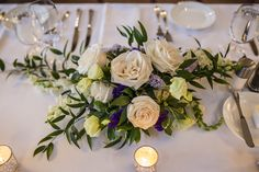 Roses, Italian Rus, and purple fillers 😍 Blooms Florist, Wedding Centerpieces, Our Wedding, Roses, Table Decorations, Weddings, Purple, Create, Home Decor