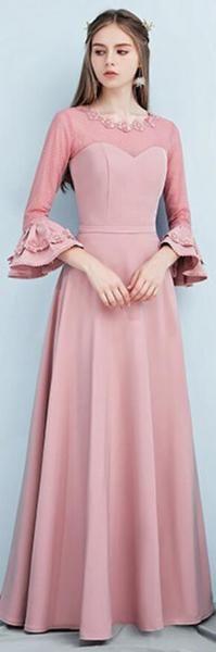 66d245e25bbb Dusty Pink Floor Length Mismatched Simple Cheap Bridesmaid Dresses Online,  WG517