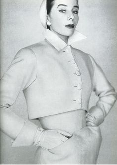 1951 wool dress with short cropped jacket by Christian Dio