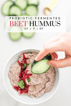 Ingredients: ½ cup Cleveland Kraut fermented beets 1 can chickpeas, drained and rinsed ¼ cup tahini 2 tbsp extra virgin olive oil Gluten Free Snacks, Dairy Free Recipes, Healthy Snacks, Vegan Recipes, Healthy Eats, Vegan Sauces, Dip Recipes, Human Nutrition, Nutrition And Dietetics